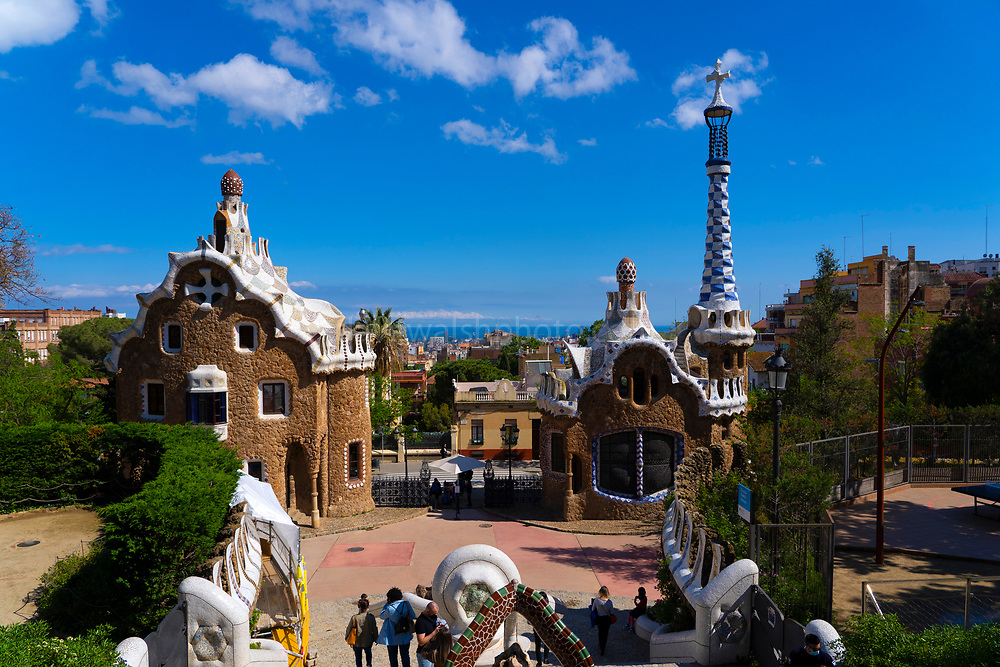 Casa del Guarda, Parc Guell, Barcelona, Catalonia, Spain. A public park design by famed Catalan architect Antoni Gaudim featuring gardens and architectural curiousities,