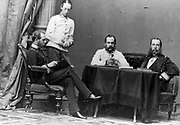 Archduke Ferdinand Maximilian (1832–1867), seated far right, and three other men, in Vienna. Maximilian I, Emperor of Mexico (1864-1867), Second Mexican Empire.  Executed  in 1867 after capture by Republicans. Regicide