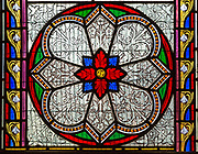 Stained glass windows 1850s ornamental floral geometric pattern, Beechingstoke  church , Wiltshire, England, UK