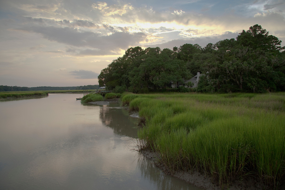 The sunset light glows on the May River marsh.