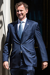 London, UK. 16 July, 2019. Jeremy Hunt MP, Secretary of State for Foreign and Commonwealth Affairs, leaves 10 Downing Street following a Cabinet meeting.