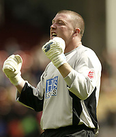 Fotball<br /> Foto: Fotosports/Digitalsport<br /> NORWAY ONLY<br /> <br /> Date: 29/08/2004<br /> <br /> Sheffield United v Leeds United<br /> Coca Cola Championship<br /> <br /> Sheffield keeper Paddy Kenny celebrates the first goal.