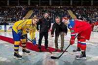 KELOWNA, BC - DECEMBER 18:  Lordco ceremonial puck drop between Erik Brännström #12 of Team Sweden and Vitalii Kravtsov #14 of Team Russia at Prospera Place on December 18, 2018 in Kelowna, Canada. (Photo by Marissa Baecker/Getty Images)***Local Caption***