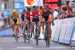 August 3, 2018 - Putte, BELGIUM - Belgian Laurens Sweeck of Pauwels Sauzen Vastgoedservice leads the escape during the 3rd edition of the 'Natourcriterium Putte' cycling event, Friday 03 August 2018 in Putte. The contest is a part of the traditional 'criteriums', local races in which mainly cyclists who rode the Tour de France compete. BELGA PHOTO LUC CLAESSEN (Credit Image: © Luc Claessen/Belga via ZUMA Press)
