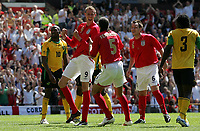 Photo: Paul Thomas.<br /> England v Jamaica. International Friendly. 03/06/2006.<br /> <br /> Peter Crouch (L) celebrates his goal with Rio Ferndinand.