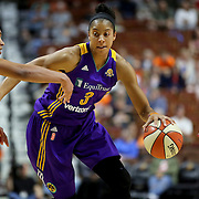 UNCASVILLE, CONNECTICUT- MAY 26:  Candace Parker #3 of the Los Angeles Sparks drives past Alyssa Thomas #25 of the Connecticut Sun during the Los Angeles Sparks Vs Connecticut Sun, WNBA regular season game at Mohegan Sun Arena on May 26, 2016 in Uncasville, Connecticut. (Photo by Tim Clayton/Corbis via Getty Images)