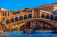 The Grand Canal with the Rialto Bridge in background, Venice, Italy.