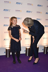 The Prime Minister Theresa May and Aliena Wigan at The Sugarplum Dinner 2017 to benefit the type 1 diabetes charity JDRF held at the Victoria & Albert Museum, Cromwell Road, London England. 14 November 2017.<br /> Photo by Dominic O'Neill/SilverHub 0203 174 1069 sales@silverhubmedia.com