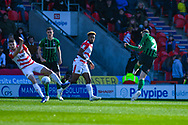 Jordan Shipley of Coventry City (26) takes a shot during the EFL Sky Bet League 1 match between Doncaster Rovers and Coventry City at the Keepmoat Stadium, Doncaster, England on 4 May 2019.