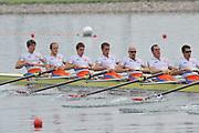 Shunyi, CHINA.  Start of a heat of the men's eights,   NED M8+ (b), SIEGELAAR Olivier, BLINK Rogier, KLEM Meindert, KLAASSEN Jozef, KUIPER David, STEENMAN Mitchel, van ANDEL Olaf, SIMON Diederik and cox WIERSUM Peter,   move away from the start pontoon. 2008 Olympic Regatta, Shunyi Rowing Course. Monday. 11.08.2008  [Mandatory Credit: Peter SPURRIER, Intersport Images]
