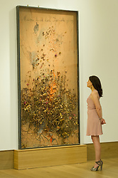 © London News Pictures. 26/06/15. London, UK. A Bonham's employee looks up Anselm Kiefer's 2005 'Maria durch den Dornwald ging', which is part of Bonhams Contemporary Art Sale, New Bond Street, Central London. Photo credit: Laura Lean/LNP