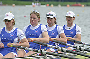 Poznan, POLAND.   2004 FISA World Cup, Malta Lake Course.  <br /> <br /> Fri. morning from the start pontoon<br /> <br /> GBR W4X bow Alison Mowbray, Rebecca Romero, Frances Houghton and Debbie Flood<br /> 09.05.2004<br /> <br /> [Mandatory Credit:Peter SPURRIER/Intersport Images]