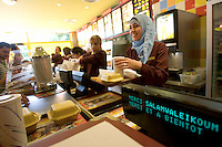 07 Sep 2005, Clichy-sous-Bois, France --- Beurger King Muslim, a Fast Food Restaurant Serving Only Halal Meats --- Image by © Owen Franken/Corbis - Photograph by Owen Franken