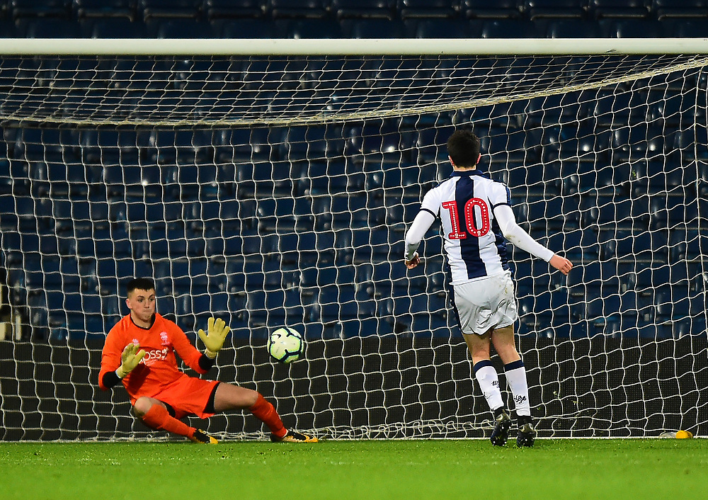 West Bromwich Albion U18's Fin Azaz scores his side's fourth goal from the penalty spot, sending Lincoln City U18's Matty White the wrong way<br /> <br /> Photographer Andrew Vaughan/CameraSport<br /> <br /> FA Youth Cup Round Three - West Bromwich Albion U18 v Lincoln City U18 - Tuesday 11th December 2018 - The Hawthorns - West Bromwich<br />  <br /> World Copyright © 2018 CameraSport. All rights reserved. 43 Linden Ave. Countesthorpe. Leicester. England. LE8 5PG - Tel: +44 (0) 116 277 4147 - admin@camerasport.com - www.camerasport.com