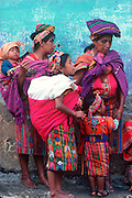 GUATEMALA, FESTIVALS Semana Santa (Easter Week) observers of religious procession in Maya Indian village of Zunil
