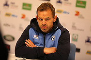 Danny Wilson, the Cardiff Blues rugby coach. Guinness Pro14 rugby match, Cardiff Blues v Dragons at the Cardiff Arms Park in Cardiff, South Wales on Friday 6th October 2017.<br /> pic by Andrew Orchard, Andrew Orchard sports photography.