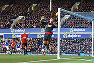 West Bromwich Albion Goalkeeper Ben Foster can only watch as he is almost beaten by a shot from Everton's Ross Barkley (far left)  but the ball hits the post to deny Everton a goal. Barclays Premier League match, Everton v West Bromwich Albion at Goodison Park in Liverpool on Saturday 13th February 2016.<br /> pic by Chris Stading, Andrew Orchard sports photography.