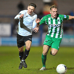 TELFORD COPYRIGHT MIKE SHERIDAN Ryan Barnett of Telford battles for the ball during the Vanarama Conference North fixture between AFC Telford United and Blyth Spartans at The New Bucks Head on Tuesday, January 28, 2020.<br /> <br /> Picture credit: Mike Sheridan/Ultrapress<br /> <br /> MS201920-043