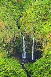 Twin waterfalls, Hanalei, Kauai, Hawaii