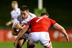 Alfie Petch of England U20 takes on Jac Morgan of Wales U20 - Mandatory by-line: Robbie Stephenson/JMP - 22/02/2019 - RUGBY - Zip World Stadium - Colwyn Bay, Wales - Wales U20 v England U20 - Under-20 Six Nations