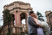Bride and groom celebrate their wedding with family and friends at St. Ignatius Church in San Francisco, California, on November 26, 2016. (Stan Olszewski/SOSKIphoto for Scott MacDonald)