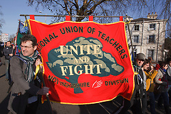 NUT members with banners at demonstration against pension cuts, Nottingham 30th November 2011