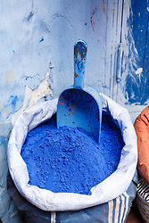 Colorful blue pigments for sale in marketplace, Chefchaouen, Morocco