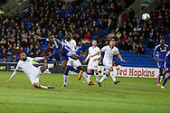 Kenneth Zohore of Cardiff city (26) goes close to scoring with a header but sees it saved by Leeds goalkeeper Marco Silvestri. Skybet football league championship match, Cardiff city v Leeds Utd at the Cardiff city stadium in Cardiff, South Wales on Tuesday 8th March 2016.<br /> pic by  Andrew Orchard, Andrew Orchard sports photography.