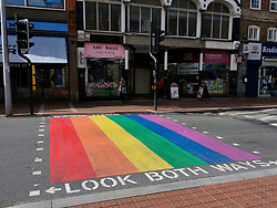 LGBT crossing installed on Friar Street, Reading by the local council. UK July 2020
