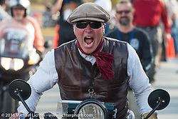 Dean Bordigioni (Dino) riding his 1923 Harley-Davidson JS at the finish after Stage 14 - (284 miles) of the Motorcycle Cannonball Cross-Country Endurance Run, which on this day ran from Meridian to Lewiston, Idaho, USA. Friday, September 19, 2014.  Photography ©2014 Michael Lichter.
