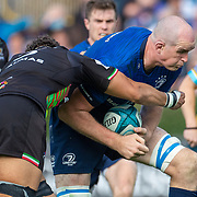DUBLIN, IRELAND:  October 9:  Devin Toner #5 of Leinster is tackled by Oliviero Fabiani #2 of Zebre during the Leinster V Zebre, United Rugby Championship match at RDS Arena on October 9th, 2021 in Dublin, Ireland. (Photo by Tim Clayton/Corbis via Getty Images)