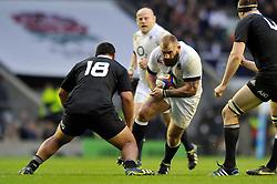 Joe Marler (England) goes on the charge - Photo mandatory by-line: Patrick Khachfe/JMP - Tel: Mobile: 07966 386802 16/11/2013 - SPORT - RUGBY UNION -  Twickenham Stadium, London - England v New Zealand - QBE Autumn Internationals.