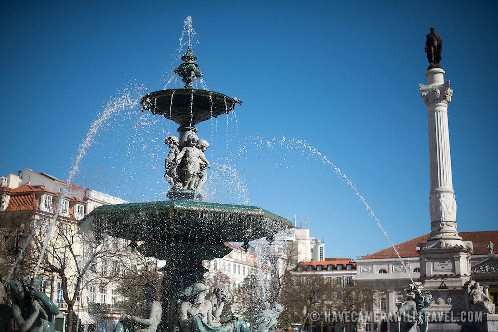 LISBON, Portugal - Formally known as Pedro IV Square (or Praça de D. Pedro IV in Portuguese), Rossio Square has been a vibrant public commons in Lisbon for centuries. At its center stands a column topped with a statue of King Pedro IV (Peter IV; 1798-1834) that was erected in 1870.
