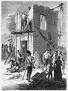 Workmen building a telegraph station to be fitted with the Chappe semaphore system c1793. From Louis Figuier 'Les Merveilles de la Science', Paris, c1870. Engraving.