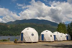 Geodesic Glamping Domes at Backeddy Resort and Marina, Egmont, Sunshine Coast, British Columbia, Canada