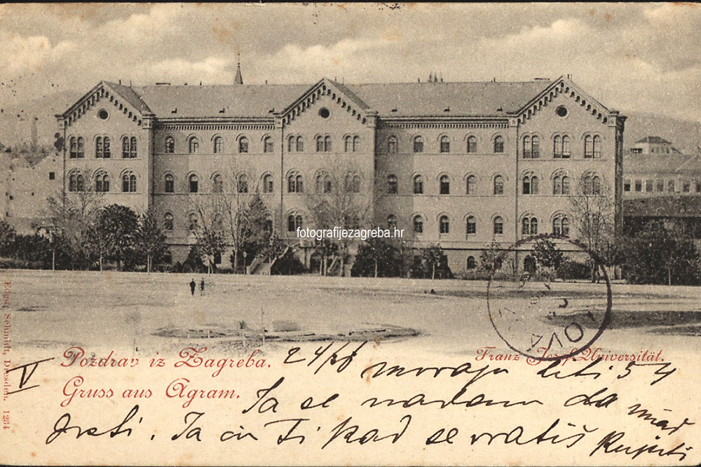 Pozdrav iz Zagreba = Gruss aus Agram. Franz Josef Universität. <br /> <br /> ImpresumDresden : Edgar Schmidt, [1898].<br /> Materijalni opis1 razglednica : tisak ; 9 x 13,9 cm.<br /> NakladnikEdgar Schmidt<br /> Vrstavizualna građa • razglednice<br /> ZbirkaGrafička zbirka NSK • Zbirka razglednica<br /> Formatimage/jpeg<br /> PredmetZagreb –– Trg Republike Hrvatske<br /> SignaturaRZG-TMT-25<br /> Obuhvat(vremenski)19. stoljeće<br /> NapomenaRazglednica je putovala 1898. godine. • Poleđina razglednice namijenjena je samo za adresu.<br /> PravaJavno dobro<br /> Identifikatori000953161<br /> NBN.HRNBN: urn:nbn:hr:238:098360 <br /> <br /> Izvor: Digitalne zbirke Nacionalne i sveučilišne knjižnice u Zagrebu