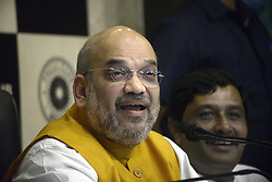 April 26, 2017 - Kolkata, West Bengal, India - Bharatiya Janta Party?s President, Amit Shah addresses a press conference in Kolkata during his second day of 15 days ?Vistaar Yatra? or expansion tour which started from Naxalbari. Amit Shah thanks people of Delhi for huge scale of B.J.P.  victory in Delhi civic polls. (Credit Image: © Saikat Paul/Pacific Press via ZUMA Wire)