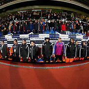 Istanbul Basaksehir's and Galatasaray's during their Turkish Super League soccer match Istanbul Basaksehir between Galatasaray at the Basaksehir Fatih Terim Arena at Basaksehir in Istanbul Turkey on Sunday, 26 October 2014. Photo by Aykut AKICI/TURKPIX