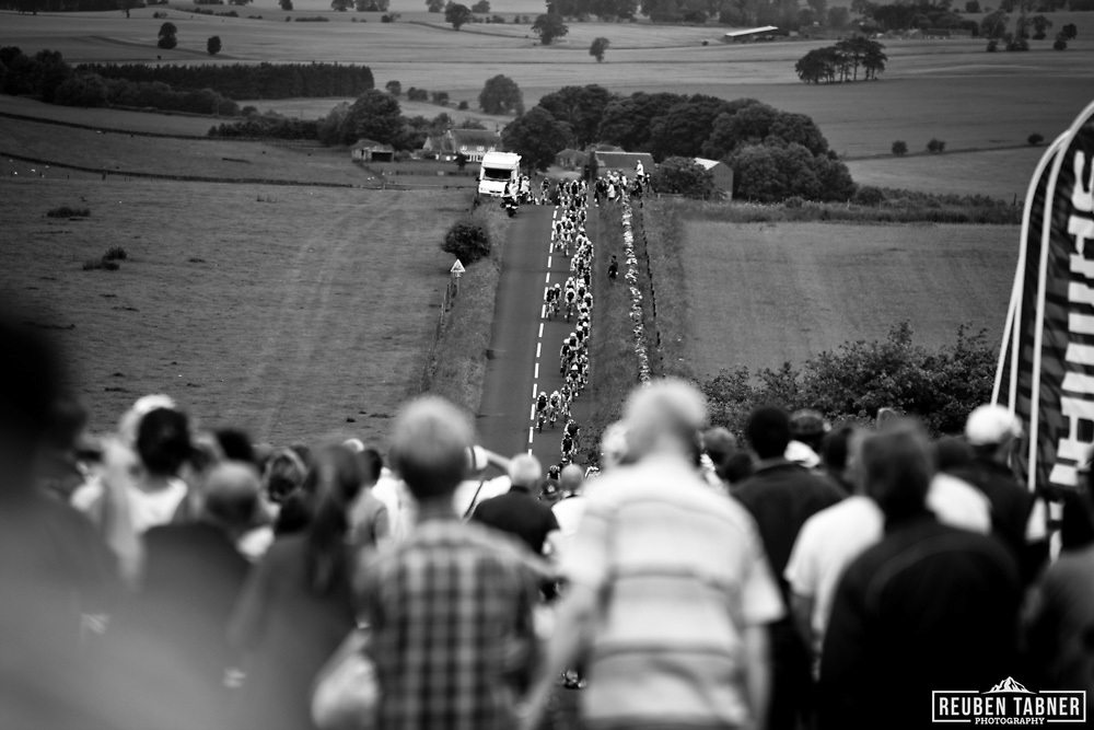 Thousands of cycling fans lined the roads in Northumberland as the riders made their way up the infamous Ryals Climb. Stamfordham, Northumberland, UK 26/06/11.