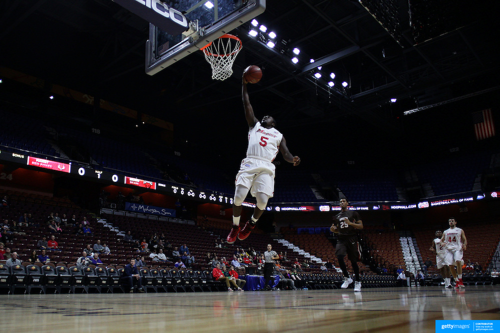 Khallid Hart, Marist, in action during the Marist vs Brown Men's College Basketball game in the Hall of Fame Shootout Tournament at Mohegan Sun Arena, Uncasville, Connecticut, USA. 22nd December 2015. Photo Tim Clayton