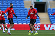 Gareth Bale of Wales (c) and Joe Ledley of Wales (l) in action during the Wales football team training at the Cardiff city Stadium in Cardiff , South Wales on Friday 1st September 2017.  the team are preparing for their FIFA World Cup qualifier home to Austria tomorrow.  pic by Andrew Orchard, Andrew Orchard sports photography