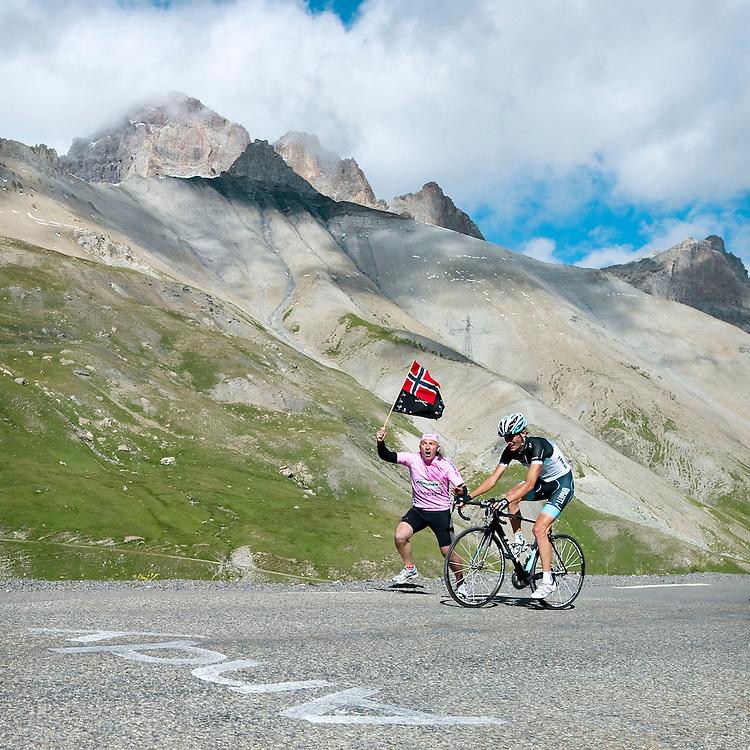 Frankrijk, Col du Galibier, 21-07-2011.<br /> Wielrennen, Tour de France, 18e Etappe.<br /> Pinerolo naar Galibier Serre Chevalier<br /> Andy Schleck op de flanken van de Col du Galbier.<br /> Foto: Klaas Jan van der Weij