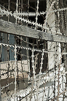 Razor wire on the exterior of Building C in Tuol Sleng Genocide Museum in Phnom Penh, Cambodia