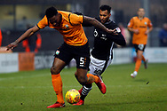 Ricardo Almeida Santos of Barnet (L) in action with Matt Green of Lincoln City (R) challenging.  EFL Skybet Football League two match, Barnet v Lincoln City at the Hive in London on Saturday 20th January 2018. <br /> pic by Steffan Bowen, Andrew Orchard sports photography.