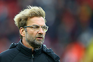 Liverpool Manager Jurgen Klopp looks on prior to kick off. Premier League match, Liverpool v Huddersfield Town at the Anfield stadium in Liverpool, Merseyside on Saturday 28th October 2017.<br /> pic by Chris Stading, Andrew Orchard sports photography.