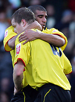 Fotball<br /> FA Cup England 2004/2005<br /> 3. runde<br /> 08.01.2005<br /> Foto: SBI/Digitalsport<br /> NORWAY ONLY<br /> <br /> Watford v Fulham<br /> <br /> Watford's Heidar Helguson is congratulated by Hameur Bouazza for his penalty against Fulham.