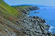 Rocky coastline along Cape Breton (Cabot Trail)<br /> Cape Lemoine<br /> Nova Scotia<br /> Canada