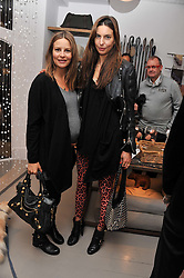 Left to right, sisters JESSICA SIMON and ZARA SIMON at a party at Mungo & Maud, 79 Elizabeth Street, London to celebrate the launch of a collection of dog accessories designed by Yasmin Le Bon held on 22nd November 2011.