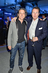 Left to right, STEPHEN WEBSTER and NICK MORAN at the Maserati Levante VIP Launch party held at the Royal Horticultural Halls, Vincent Square, London on 26th May 2016.
