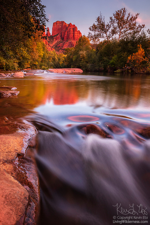 Cathedral Rock, a 4,967 foot (1,514 meter) sandstone butte, is reflected on Oak Creek in Sedona, Arizona. Cathedral Rock is located in the Coconino National Forest.